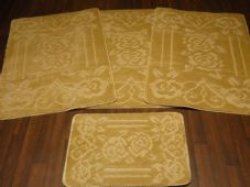 ROMANY WASHABLES TRAVELLER MAT SET 4PC NON SLIP GYPSY ROSES SUPER THICK LT BEIGE